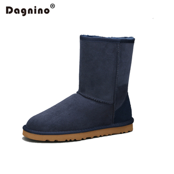 DAGNINO Sheepskin Leather Suede Winter Snow Boots Lady Shearling Women Real Sheep Fur Wool Lined Ankle Shoes Unisex